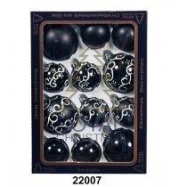 Yeni il şarlari 12 balls Royal Christmas Black Shiny Mat Deco 60/80 mm (22007)-bakida-almaq-qiymet-baku-kupit