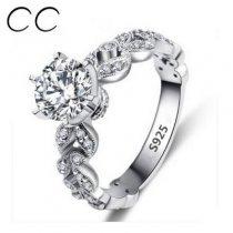 1.5 Карат 925 покрытие белое золото женское кольцо