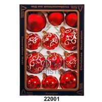Yeni il şarlari 12 balls Royal Christmas Red Shiny Mat Deco 60/80 mm (22001)