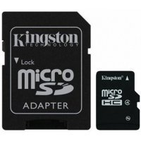 Карта памяти Kingston 16GB microSDHC Class 4 Flash Card Single Pack (SDC4/16GBSP)