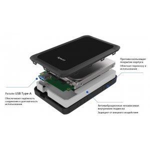 Внешний Apacer 2 TB USB 3.1 Gen 1 Portable Hard Drive AC532 Black Shockproof (AP2TBAC532B-1)