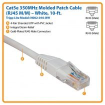 Cable Tripp Lite Cat5e 350MHz Molded Patch Cable RJ45M/M - 10' (3m) (N002-010)