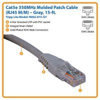 Cable Tripp Lite Cat5e 350MHz Molded Patch Cable RJ45M/M - 15 ft. (5m) (N002-015)