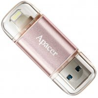 Флеш память USB Apacer 64 GB  USB 3.1 Gen1 Lightning AH190 / Rose Gold (IOS & Mac) (AP64GAH190H-1)